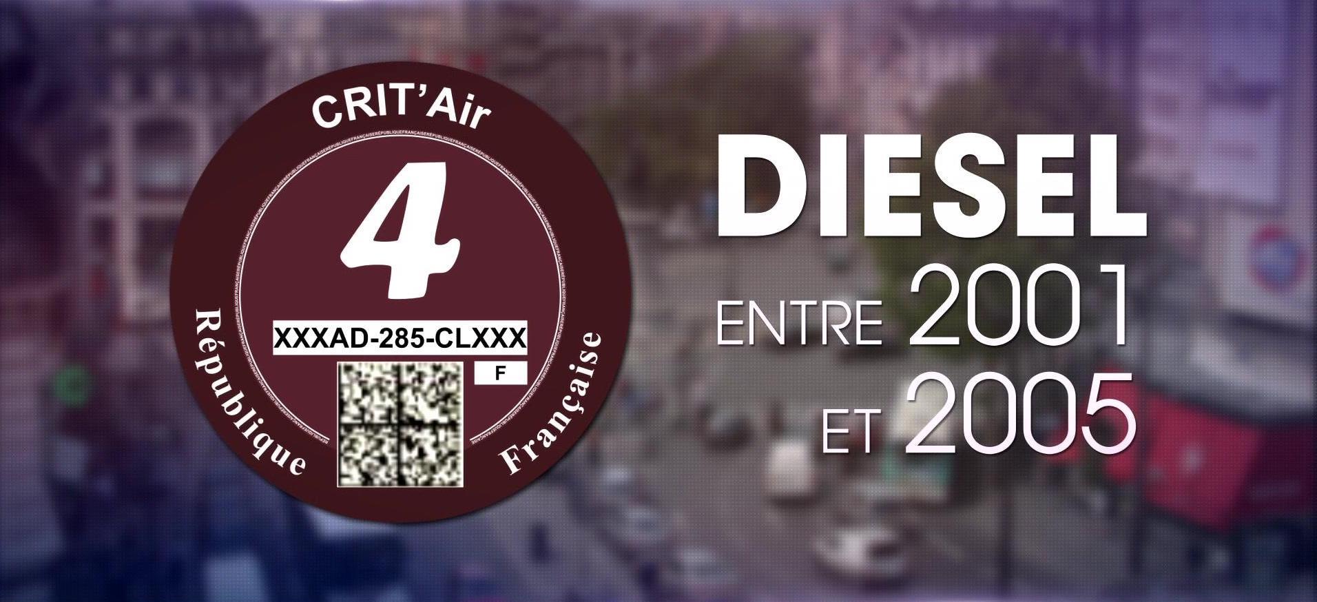 vignette crit air Paris numéro 4 interdite à la circulation